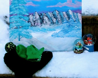 Snowscape wall art- acrylic painting