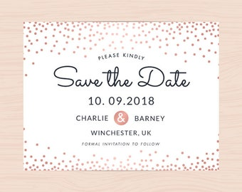 Printable Save the Date Card, Save the Date template PDF supplied