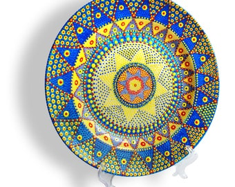 """Decorative plate """"The star of Bethlehem"""" home decor, Hand painted plate, Wall decorations, Wall art decor, Wall hangings, Faience."""