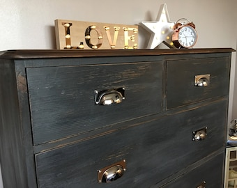 Rustic Chic Graphite Grey Pine Chest of Drawers