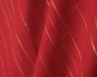 Gold Threaded Red Fabric