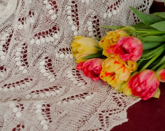 Wedding shawl, 100% wool hand-knitted lace shawl, Lily of the valley pattern