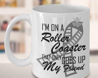 Melanoma Cancer Awareness Coffee Cup Roller Black Ribbon Novelty Ceramic Mug Get Well Cute Gift Survivor Support 11 & 15 ounce