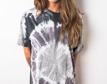 Black Grey Swirl Spiral Tie Dye T-Shirt Ladies