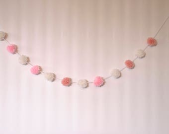 Mini pompom garland, pink and white yarn pom pom garland , pom pom banner, nursery decor, boho decor, baby bedroom decor, baby girl gift