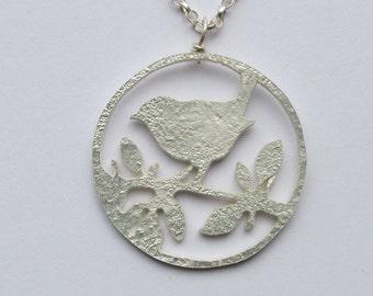 Bird necklace, silver bird necklace, silver bird, bird jewellery, bird pendant, nature necklace, silver bird pendant