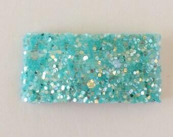 Frosty blue glitter snap clip OR alligator clip