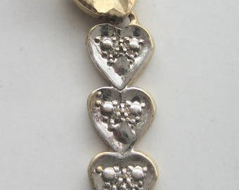 Vintage 10kt Yellow and White Gold Heart Pendant