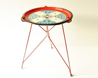Vintage Tripod Table - Playing Cards - Poker - Atomic Side Table -Plant Table - Mid Century Modern Tripod Coffee Table