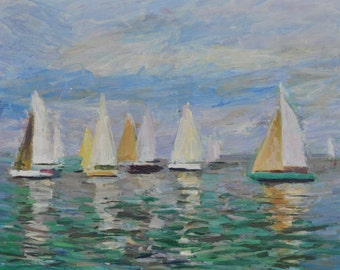 The Sails, Oil Painting, Landscape Painting, Seascape, Original, Canvas, Impressionism, Sea, Boats, Marine
