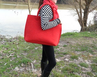 Casual elegant red bag, felt bag, wool bag, hand bag, Italian bag, shopper, shopping bag, hand made in Italy bag,  BeFeltBags