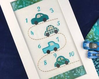 Counting cars, Boys nursery cars, Boys room decor