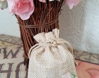 6 Natural Linen Potpurri Sachet