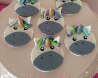 DIY fondant unicorn cake topper sets, set of 6