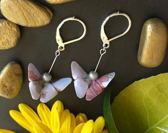 Origami Butterfly Earrings - Grey/Silver