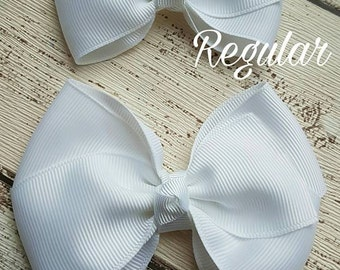 Flat boutique ribbon hairbow clip bobble