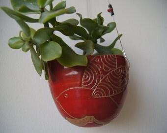 Suspension in stoneware, pottery, ceramics, plant, decoration