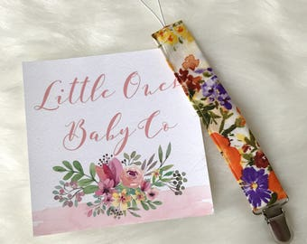 Yellow Floral Pacifier Clip