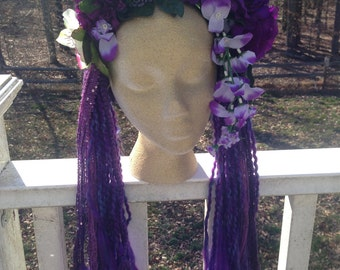 Purple Flower Garland Headband with Dreads
