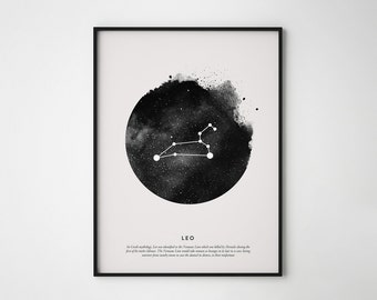 Leo Constellation Print, Constellation Print, Leo Print, Printable Poster, Instant Print Art, Wall Printables, Scandinavian print art