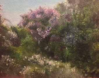 Lilac in Abandoned Garden ACEO Original Oil Painting by Anna Pchelka Print