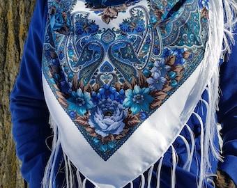 Russian shawl |  Ukrainian scarf | babushka head scarf | big boho hippie scarf | bohemian | tablecloth | chale russe, fringes