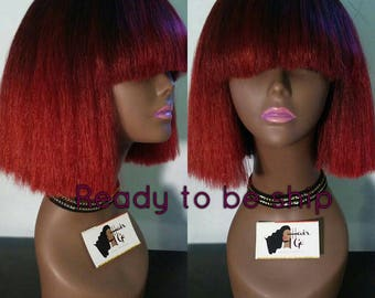 The Red Thunder Full bang wig