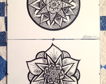 Framed Ink Mandala Drawings (Hand drawn, Unique originals)