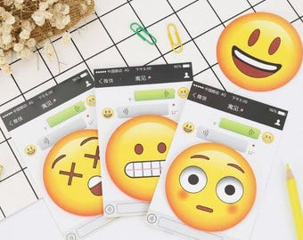 Emoji Expression Face Sticky Notes ~ Novelty Stationery, Post It, Scrapbooking Notes, Office Supplies, Happy Smile Sleep Surprise Memo Pad