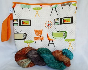 Retro turquoise kit-project bag and yarn
