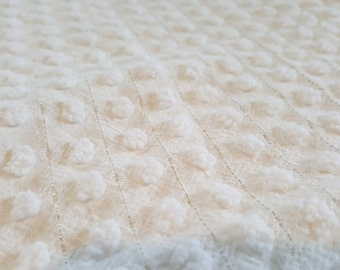 Vintage Chenille Bedspread Morgan Jones Popcorn with silver lurex thread