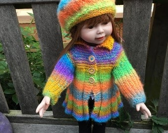 Hand knitted woollen coat and beret for American Doll 18""