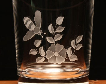 Honey Bee Bees engraved lead crystal glass tumbler