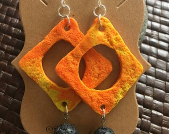 Orange amd yellow laca stone dangle earrings