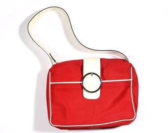 Barbara Milano Vintage Red Canvas Handbag