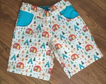 Camping Print Shorts - 2yrs