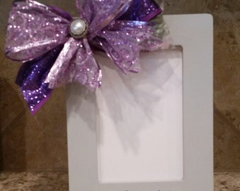 Hand painted picture frame with handmade purple bow