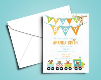 It's a Boy Baby Shower Designed & Printed Invitations w/ Envelopes