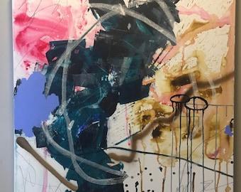 """Mixed Medium Abstract Painting on Canvas """"Balancing Act"""" 36""""x36"""""""