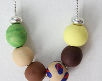 Handmade Polymer clay Jewelry : Bead necklace + thong design bead.
