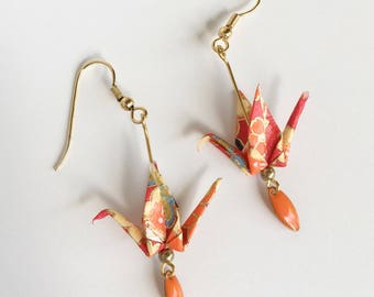 Cranes origami Japanese paper red and orange earrings