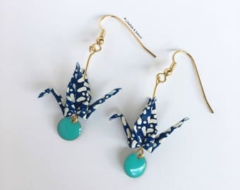 Earrings blue Japanese paper origami cranes and white