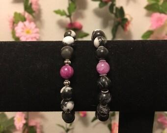 HANDMADE marble black and white beaded bracelet