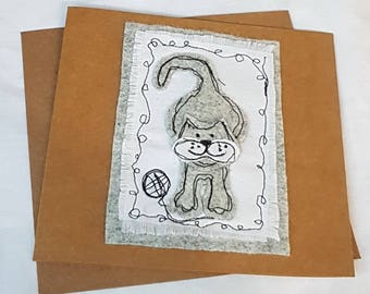 Meow about you Free motion machine embroidery-greetings card-mum sister daughter-birthday card- applique textiles collage-mad about cats