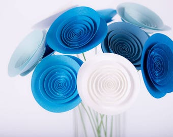 "Hand-made paper flowers - bouquet ""Blue Sky"""