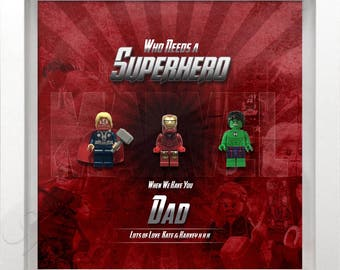 Lego Marvel personalised name picture frame with 3 mini figures
