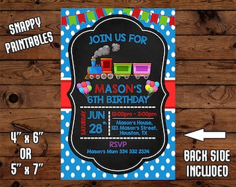 Train Birthday Invitation, Train Birthday Invite, Train Party Invite, Printable, Digital File - 017