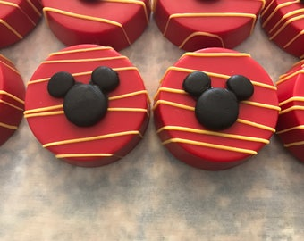 12 Mickey Mouse Inspired Chocolate Dipped Covered Oreo Cookies Party Favors