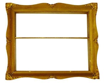 Early Gilt Gesso Shadow Box Wall Shelf with Brass Filigree Adornments