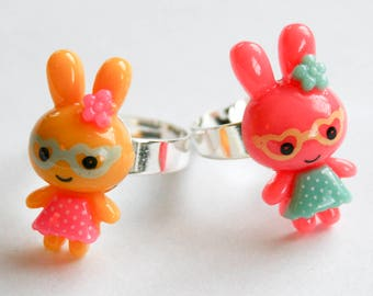 Kawaii Bunny Best Friend Rings - Pink and Yellow